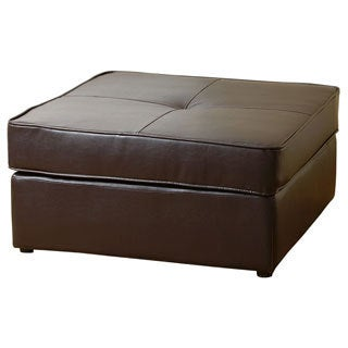 ABBYSON LIVING Dark Brown Capri Square Bonded Leather Ottoman