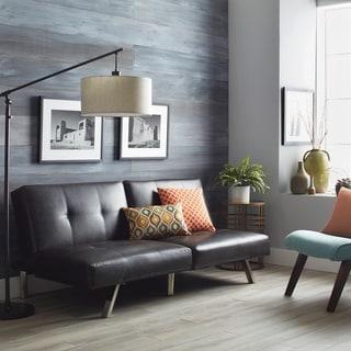 Abbyson Aspen Espresso Brown Bonded Leather Foldable Futon Sleeper Sofa