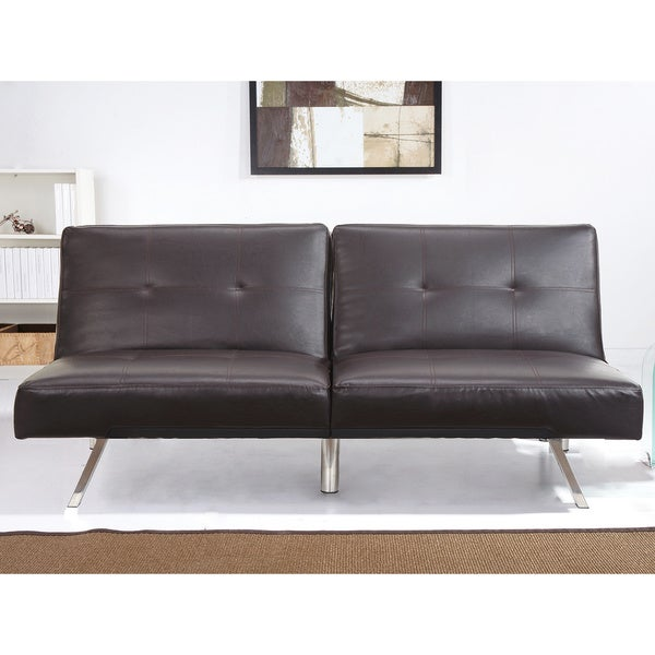 Abbyson living aspen espresso brown leather foldable futon for Sofa bed overstock