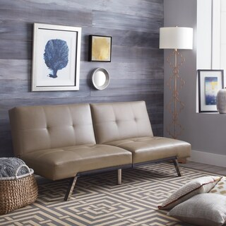 ABBYSON LIVING Aspen Taupe Leather Foldable Futon Sleeper Sofa Bed