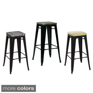 30-inch Black Frame Sheet Metal Bar Stool (2 Pack)