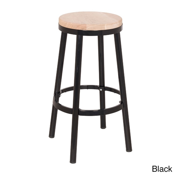Modern Round Backless Metal And Ash Wood Bar Stool