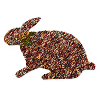 Hand-woven Indo Confetti Bunny-shaped Scatter Rug (5' x 8')