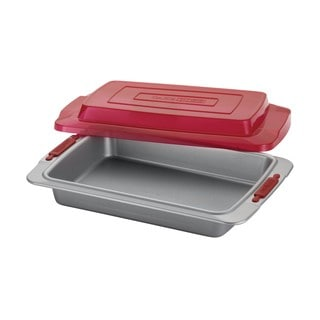 "Cake Boss Deluxe Grey Nonstick Bakeware 9"" x 13"" Covered Cake Pan and Red Silicone Grips"