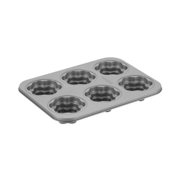 Cake Boss Novelty Grey Nonstick Bakeware 6-Cup Flower Cakelette Pan