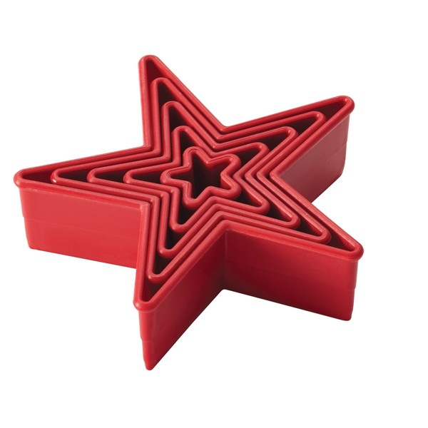 Cake Boss Red Decorating Tools 5-Piece Nylon Star Fondant and Cookie Cutter Set