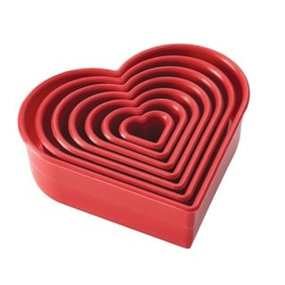 Cake Boss Red Decorating Tools 7-Piece Nylon Heart Fondant and Cookie Cutter Set