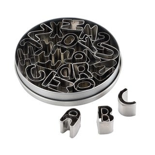 Cake Boss Decorating Tools 26-Piece Stainless Steel Alphabet Fondant and Cookie Cutter Set