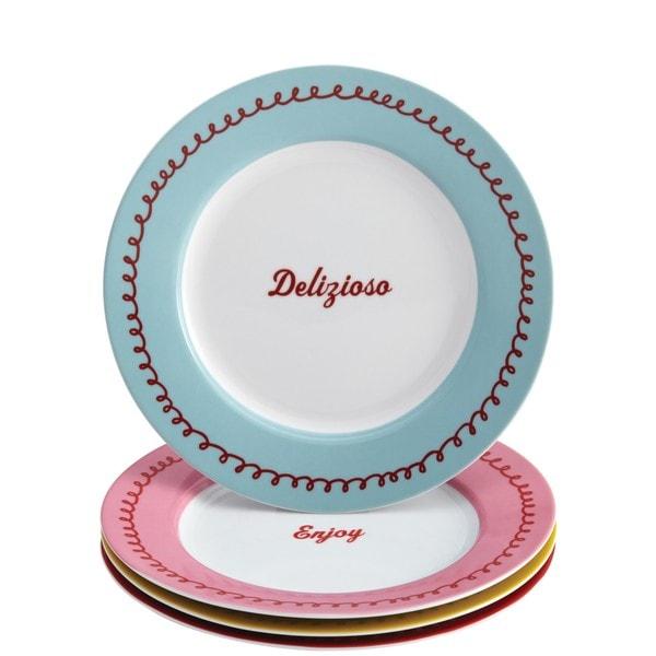 Cake Boss 'Icing & Quotes' Serveware 4-Piece Porcelain Dessert Plate Set