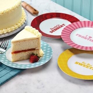 Cake Boss Serveware 4-Piece Porcelain Dessert Plate Set Patterns and Quotes