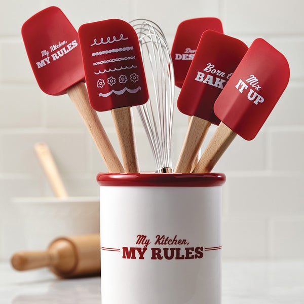 """Cake Boss Red/ White 'Devoted To Dessert' Novelty Tools 11.5"""" Silicone Spoonula 12957936"""