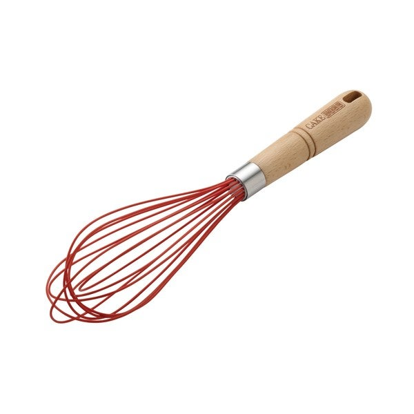 """Cake Boss Wooden Tools and Gadgets 10"""" Stainless Steel Balloon Whisk with Silicone Overmold"""