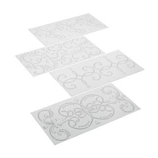 Cake Boss Decorating Tools 4-piece Clear Classic Fondant Imprint Mat Set