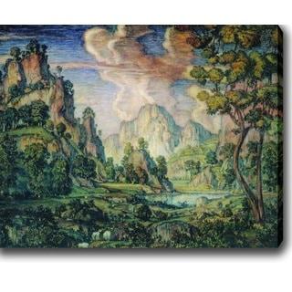 Konstantin Bogaevsky 'Classical Landscape' Oil on Canvas Art