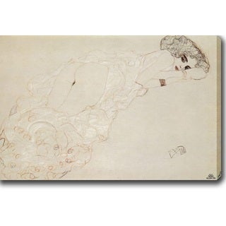 Gustav Klimt 'Reclining Nude Lying on Her Stomach and Facing Right' Oil on Canvas Art