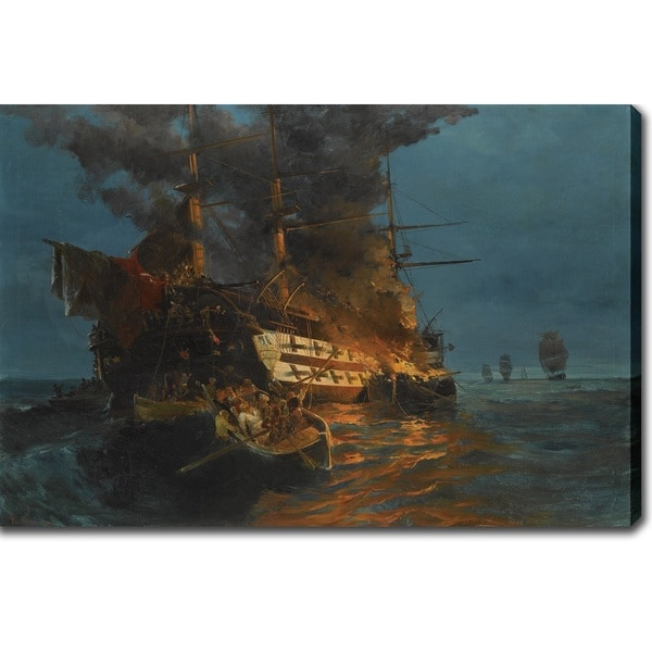 Konstantinos Volanakis 'The Burning of a Turkish Frigate' Oil on Canvas Art