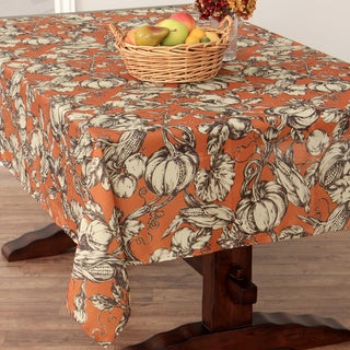 Harvest Toile Pumpkin Textured Tablecloth