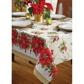 Poinsettia Promenade Herringbone Tablecloth