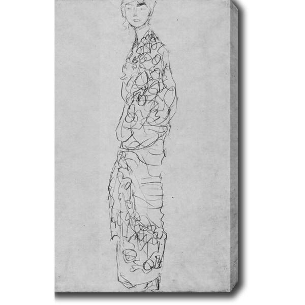 Gustav Klimt 'Standing Woman in Kimono (Dame im Kimono)' Oil on Canvas Art