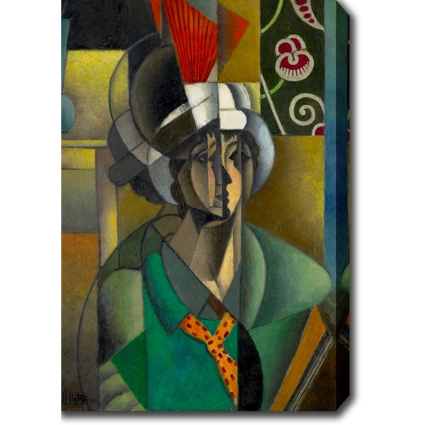 Jean Metzinger 'La Femme l'ventail (Woman with Fan)' Oil on Canvas Art