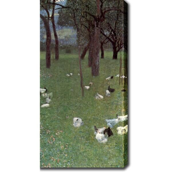 Gustav Klimt 'the Rain (Garden with Chickens in St. Agatha)' Oil on Canvas Art