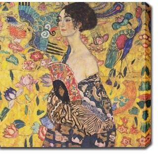 Gustav Klim 'Lady with Fan' Oil on Canvas Art