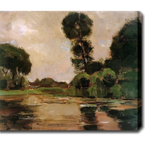 Piet Mondrian 'Lonely tree at the Gein Sun' Oil on Canvas Art