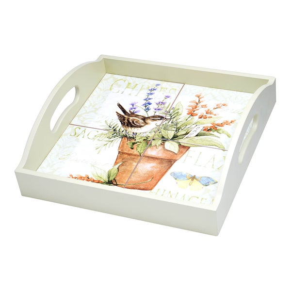 Hand-painted Herb Garden 4-tile Wood and Ceramic 2-handle Serving Tray