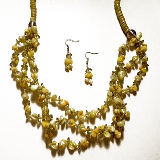 Pavcus Designs Lime Green Shell and Coconut Wood Necklace and Earring Set
