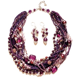 Pavcus Designs Multistrand Purple Beaded Necklace and Earring Set