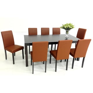 Warehouse of TIffany's 9-piece Toffee Tafline with Juno Table Dining Set