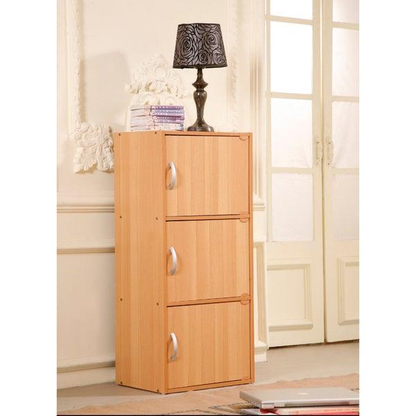 Three Door Wooden Storage Cabinet 16243164 Overstock