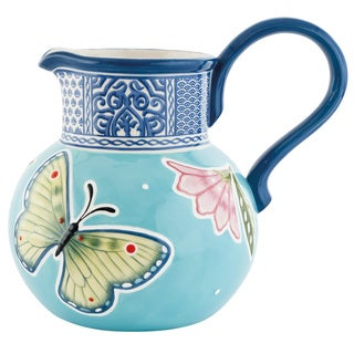 Fitz and Floyd Courtyard Blue Ceramic Floral Pitcher