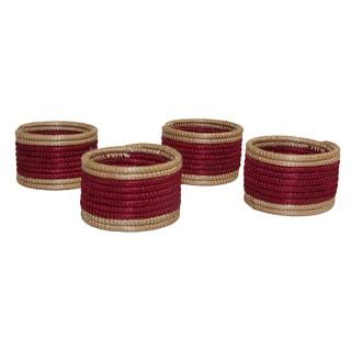 Set of 4 Maroon/ Tan Napkin Rings (Rwanda)