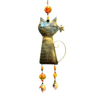Handmade Sniffing Kitty Wind Chime (India)