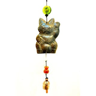Handmade Waving Kitty Wind Chime (India)