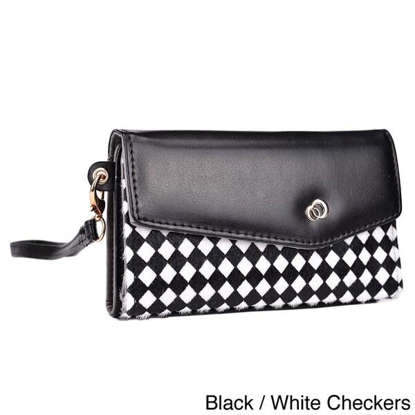 Kroo Mink Zipper Pocket Clutch Wristlet Wallet
