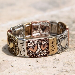 Zippered Hearts 'Positive Hug' Metallic Plates Stretch Bracelet