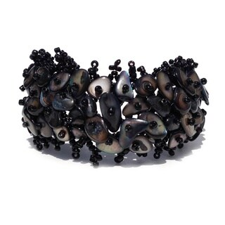 Black Mother of Pearl Beaded Weave Bracelet