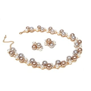 Tri-tone Glass Pearl Cluster Necklace and Earring Set