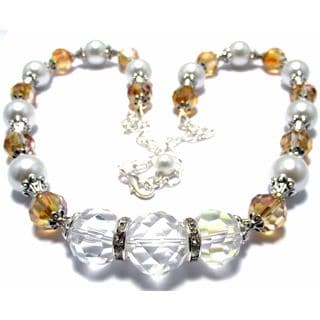 White Pearl and Light Topaz Crystal 4-piece Wedding Jewelry Set