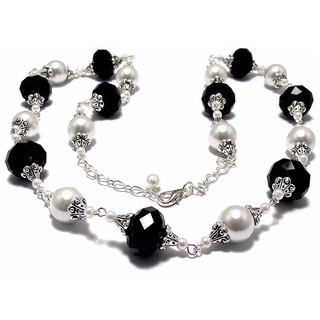 Jet Black Crystal White Glass Pearl 4-piece Wedding Jewelry Set