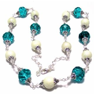 Turquoise Green Crystal/ Bumpy Ivory Glass Pearl 4-piece Wedding Jewelry Set