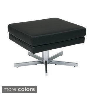 Yield Chrome Base Faux Leather Ottoman