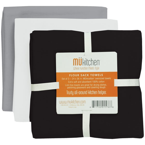 MUkitchen Beach Flour Sack 3-piece Kitchen Towel Set
