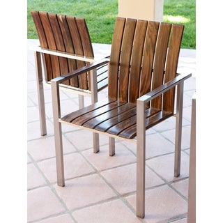 Abbyson Living Alexandria Titanium Stainless-steel Dining Armchair (Set of 2)