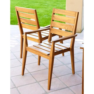 Abbyson Living Papua Eco Teak Wood Dining Armchair (Set of 2)