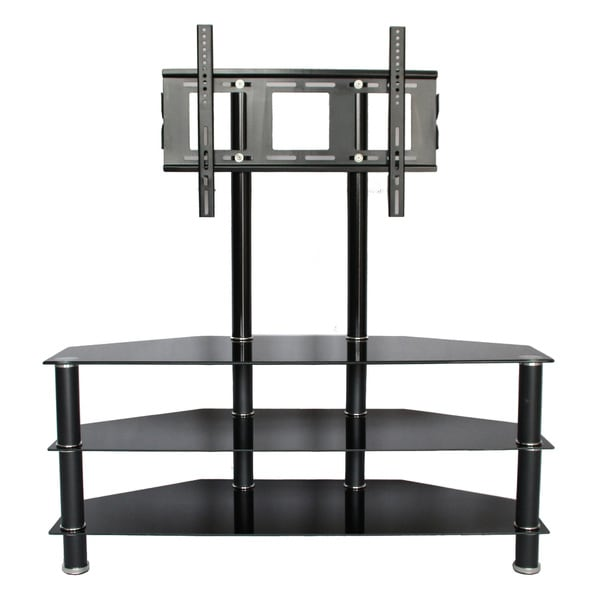 3 shelf tempered glass stand with 46 inch tv mount entertainment living room new ebay. Black Bedroom Furniture Sets. Home Design Ideas