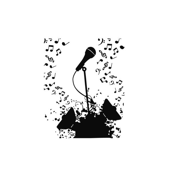 Microphone with Music Notes Vinyl Wall Art