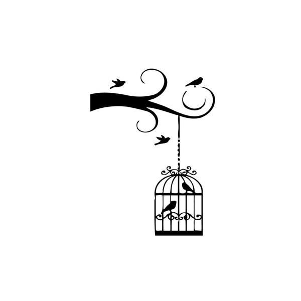 Bird Cage on Tree Vinyl Wall Art